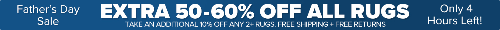 Banner that shows our current sale is an Extra 50-60% Off All Rugs